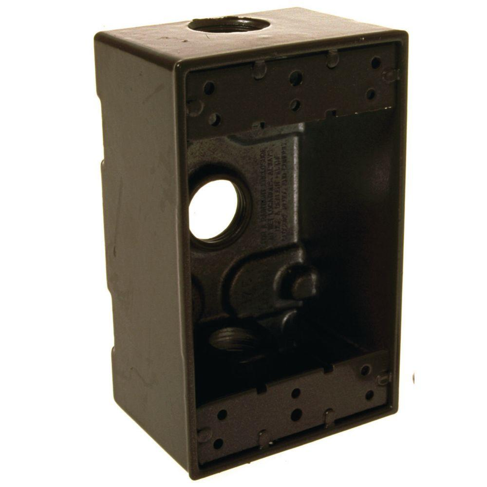1-Gang 3-Outlets 1/2 in. Threaded Weatherproof Box, Bronze