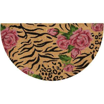 Animal Print Roses Beige/Black 2 ft. x 3 ft. Area Rug