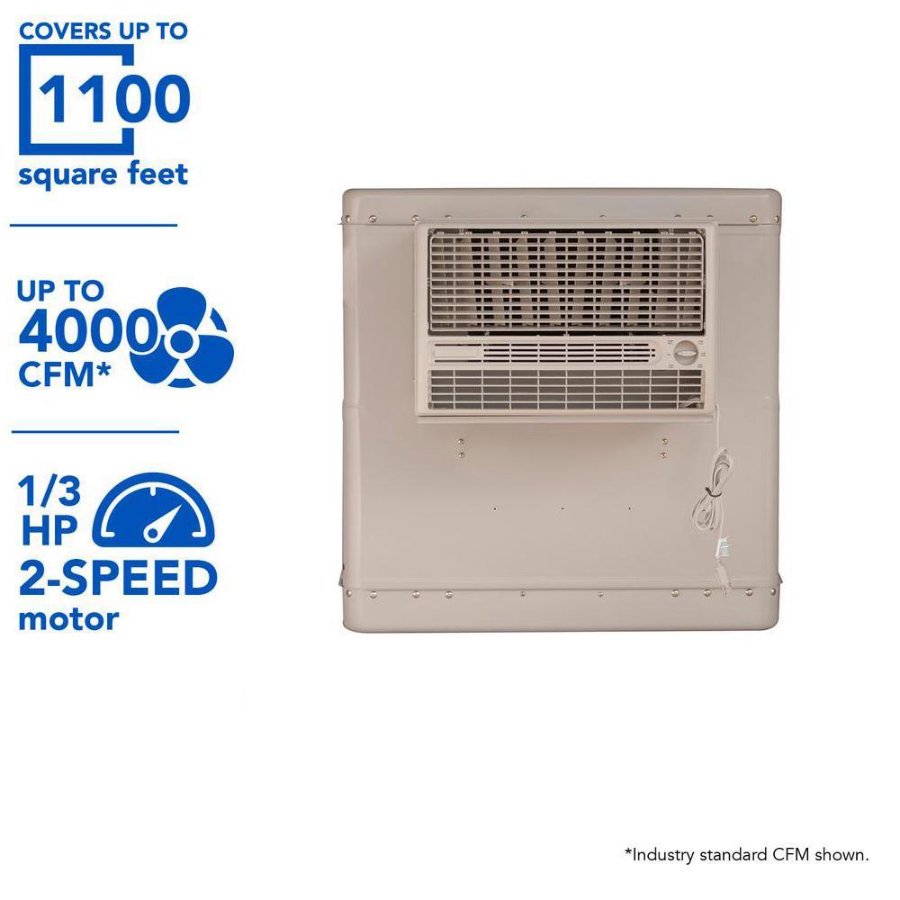 4000 CFM 2-Speed Front Discharge Window Evaporative Cooler for 1100 sq.