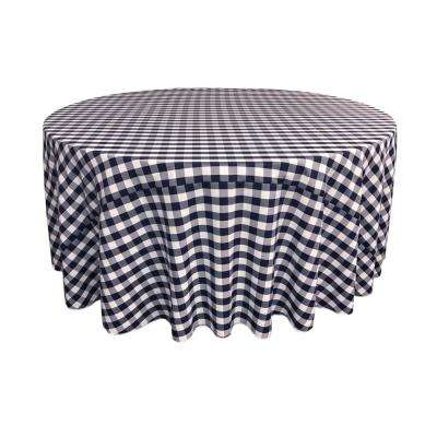 120 in. White and Navy Polyester Gingham Checkered Round Tablecloth