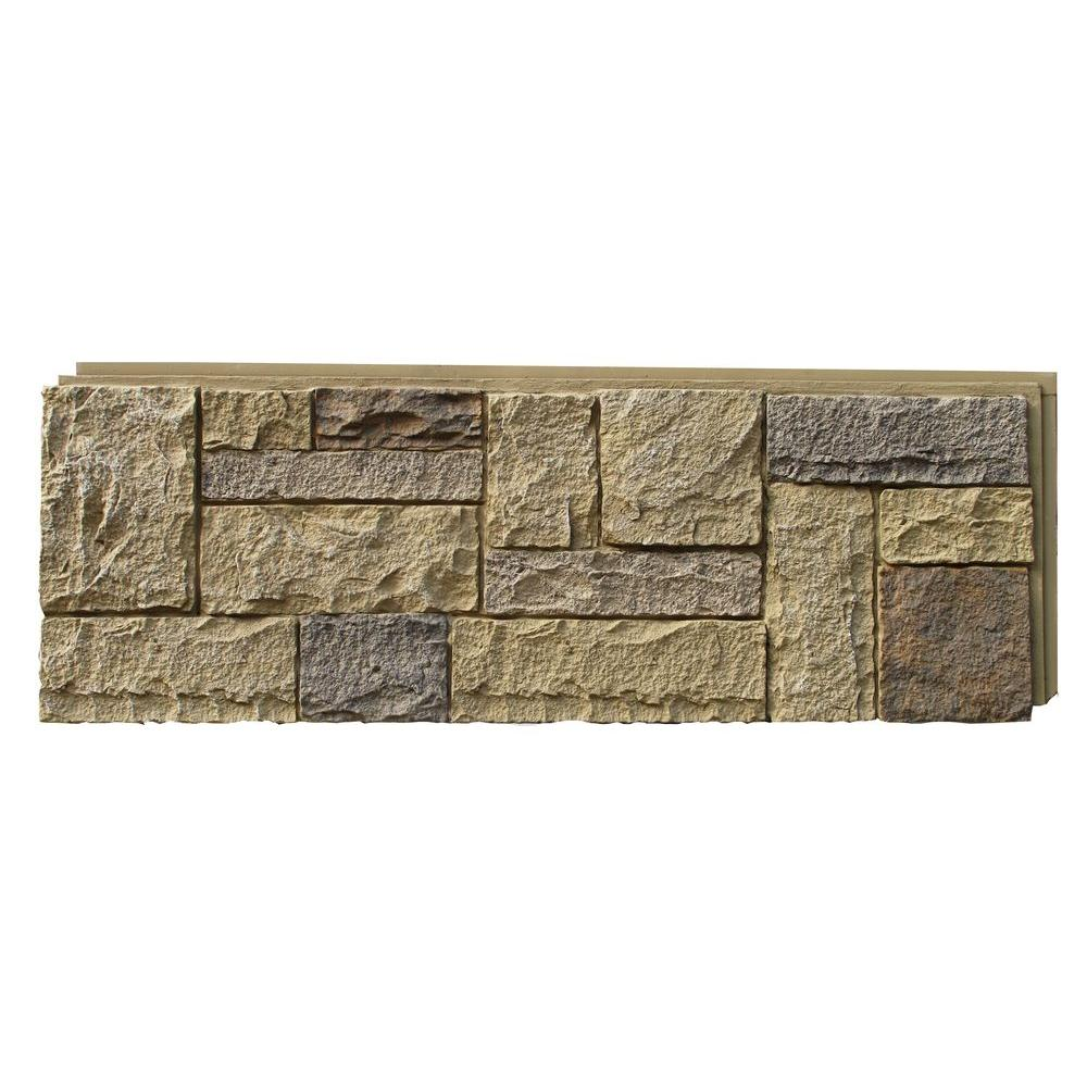 NextStone Castle Rock 43.25 in. x 15.25 in. Faux Stone Siding Panel in Windsor Buff (4-Pack)
