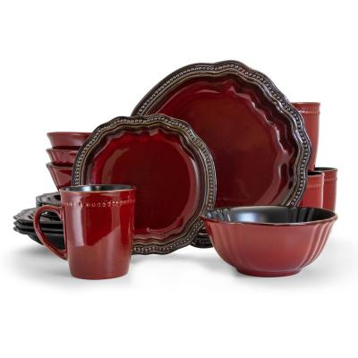 Regency 16-Piece Red Stoneware Dinnerware Set (Service for 4)