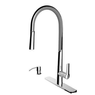 Breeze Single-Handle Pull-Down Sprayer Kitchen Faucet with Flexible Spout and Soap Dispenser in Chrome and Gray