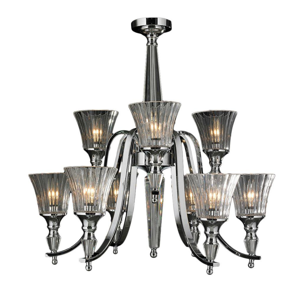 Innsbruck 9-Light Chrome with Clear Crystal 2-Tier Chandelier