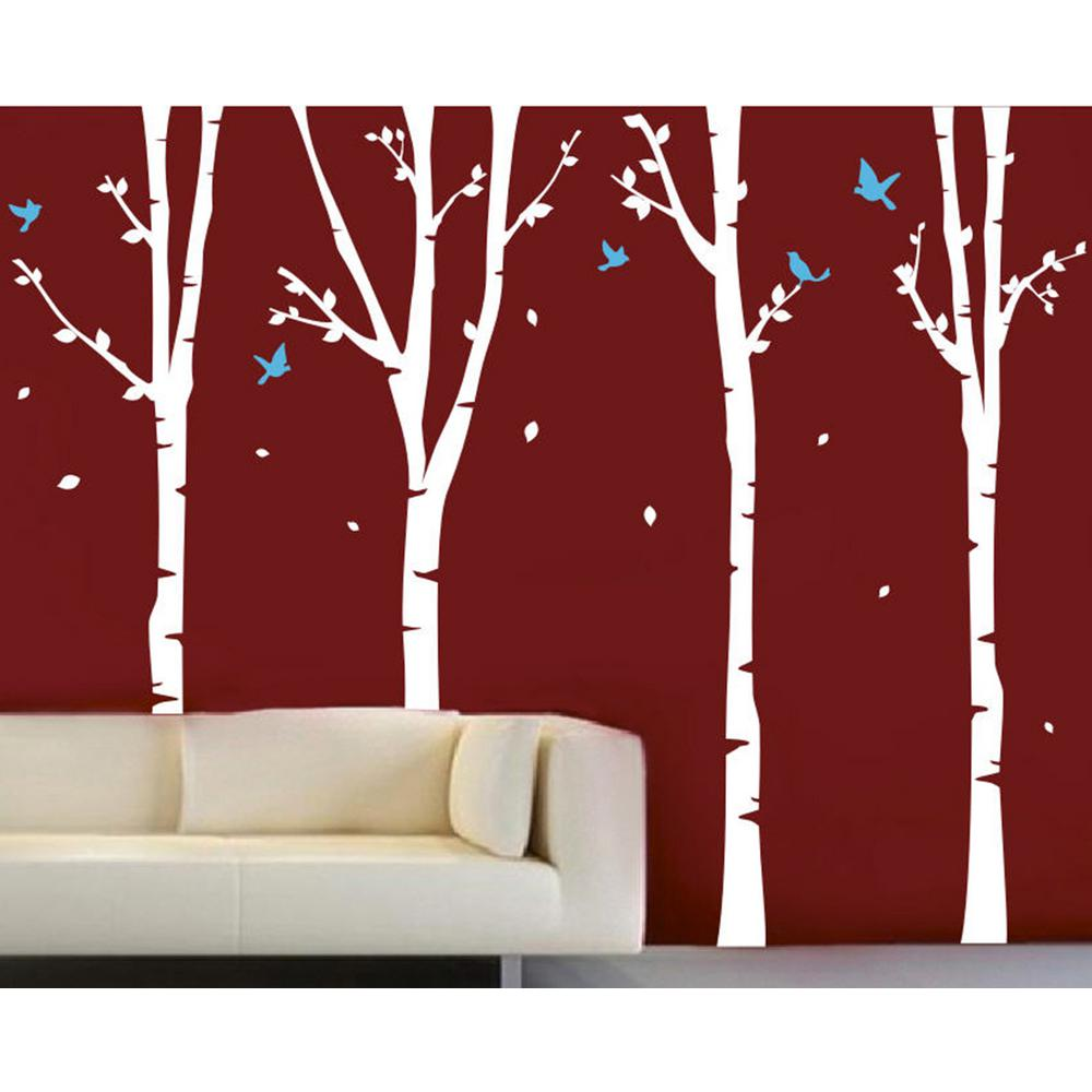 Pop Decors 124 In X 102 White Trees Ice Blue Birds 4