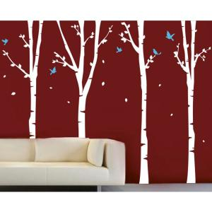 124 in. x 102 in. White Trees, Ice Blue Birds 4-Super Birch Trees Removable Wall Decal