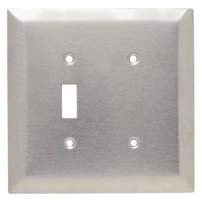 302 Series 2-Gang Jumbo Blank/Toggle Combination Wall Plate, Stainless Steel