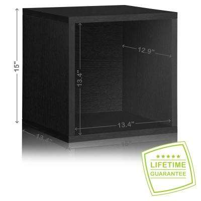 Blox System 13.4 in. x 15 in. x 15 in. Stackable Large zBoard  Storage Cube Organizer in Black Wood Grain