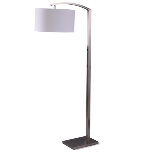 70 in. Brushed Steel Floor Lamp with Over Arching Shade