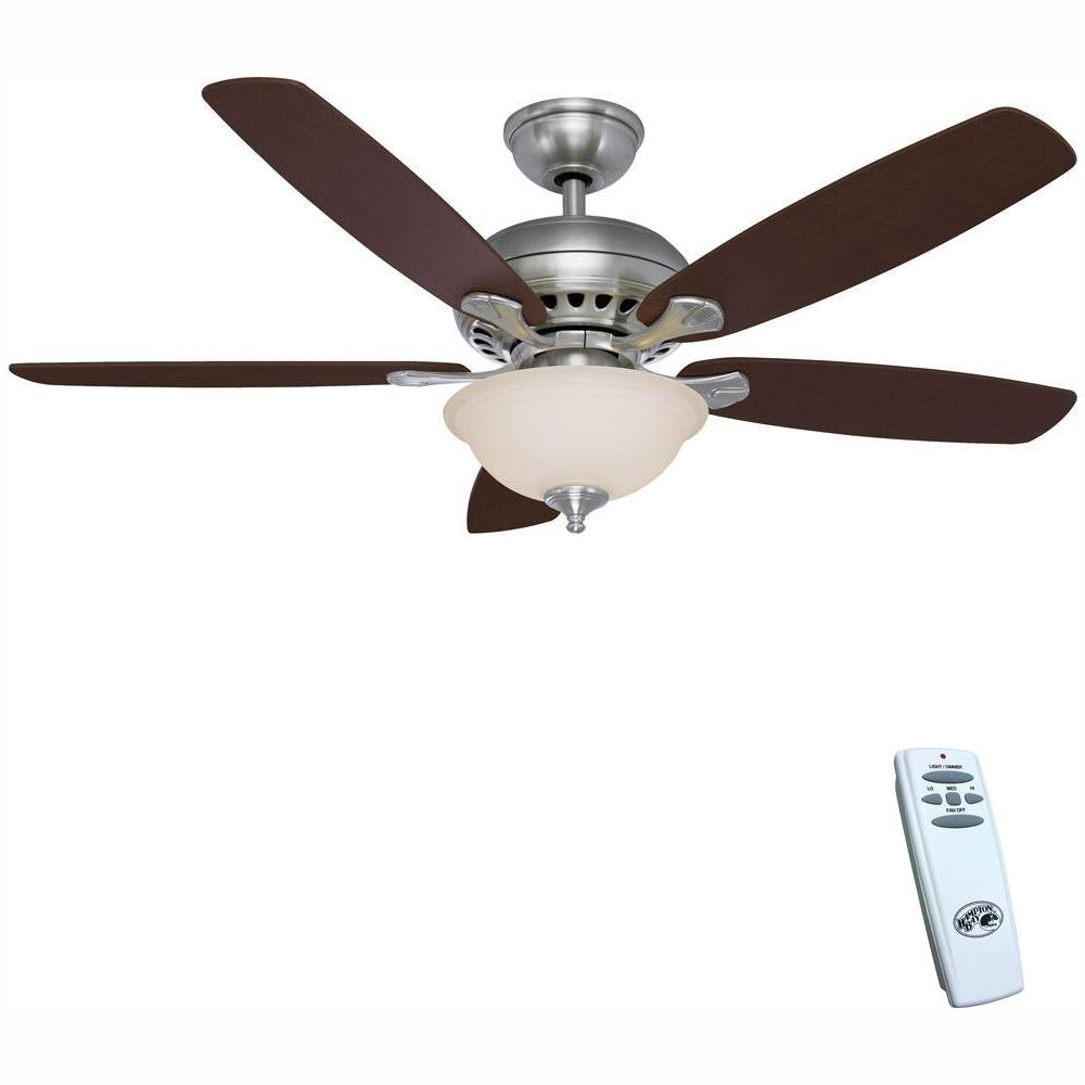 Hampton Bay Southwind 52 in. LED Indoor Brushed Nickel Ceiling Fan on