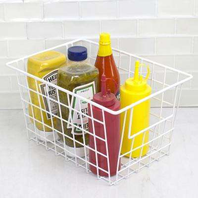 Vinyl Coated 8.25 in. x 6.75 in. White Pull-Out Steel Basket