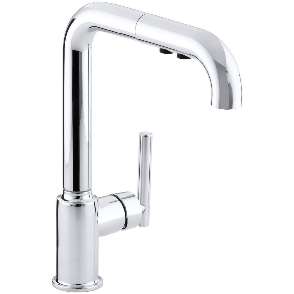 Kohler Purist Single Handle Pull Out Sprayer Kitchen Faucet In