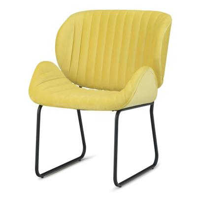 Rivley 24 in. Wide Mid Century Modern Accent Chair in Daffodil Yellow Velvet