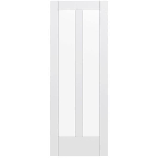 32 in. x 80 in. MODA Primed PMC1024 Solid Core Wood Interior Door Slab w/Clear Glass
