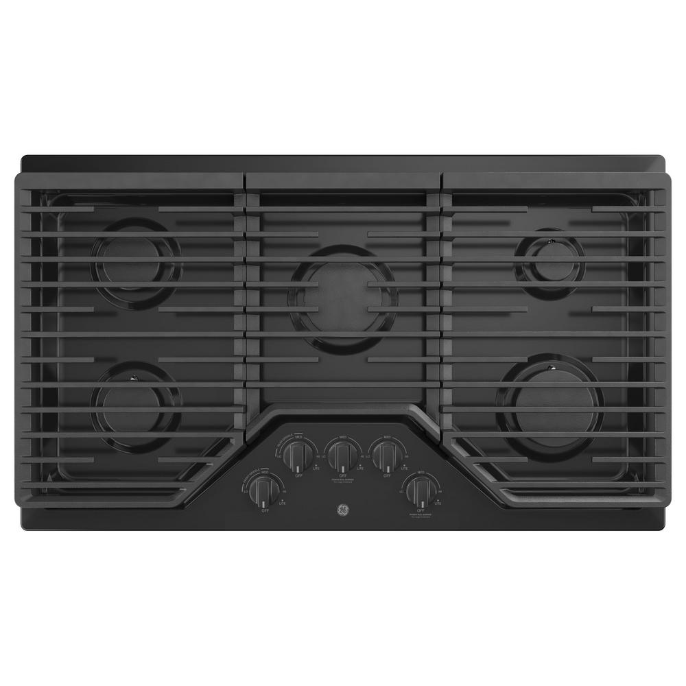 36 in. Built-In Gas Cooktop in Black with 5-Burners including Power
