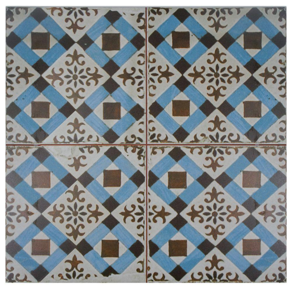 Merola Tile Costa Cendra Decor Daisy Encaustic 7-3/4 in. x 7-3/4 in ...