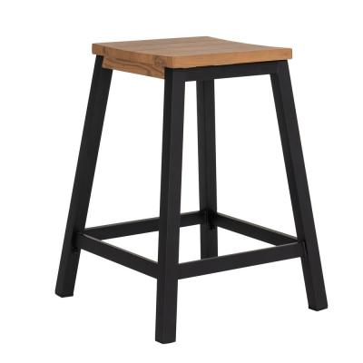 Outdoor Steel Counter Height Bar Stool with Decorative Wood Finish