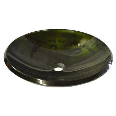 Embossed Tapered Rim Glass Vessel Sink in Forest Green with Pop-Up Drain and Mounting Ring in Chrome