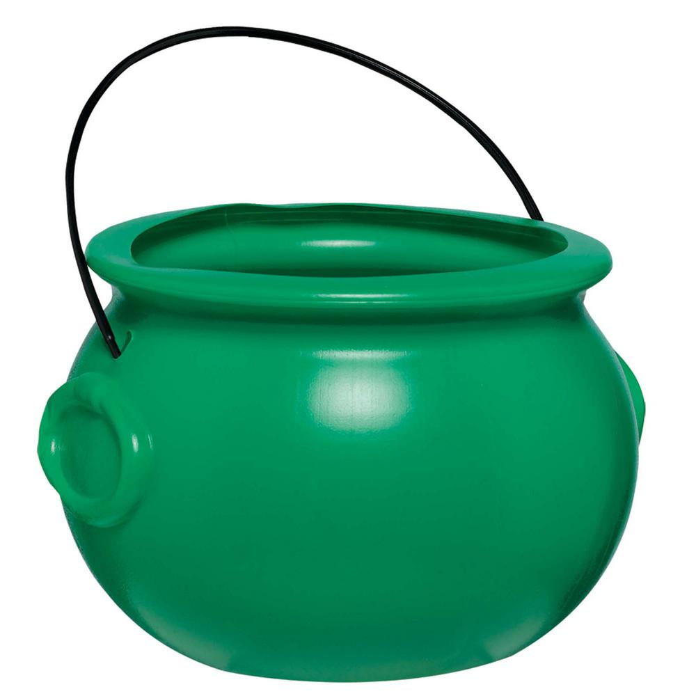 AMSCAN 6 in. St. Patrick's Day Green Plastic Pot of Gold ...