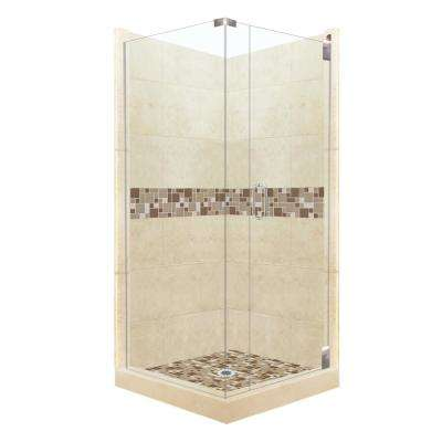 Tuscany Grand Hinged 42 in. x 42 in. x 80 in. Right-Hand Corner Shower Kit in Desert Sand and Chrome Hardware