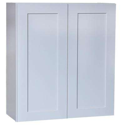 Plywell Ready to Assemble 33x36x12 in. Shaker Double Door Wall Cabinet with 2 Shelves in Gray