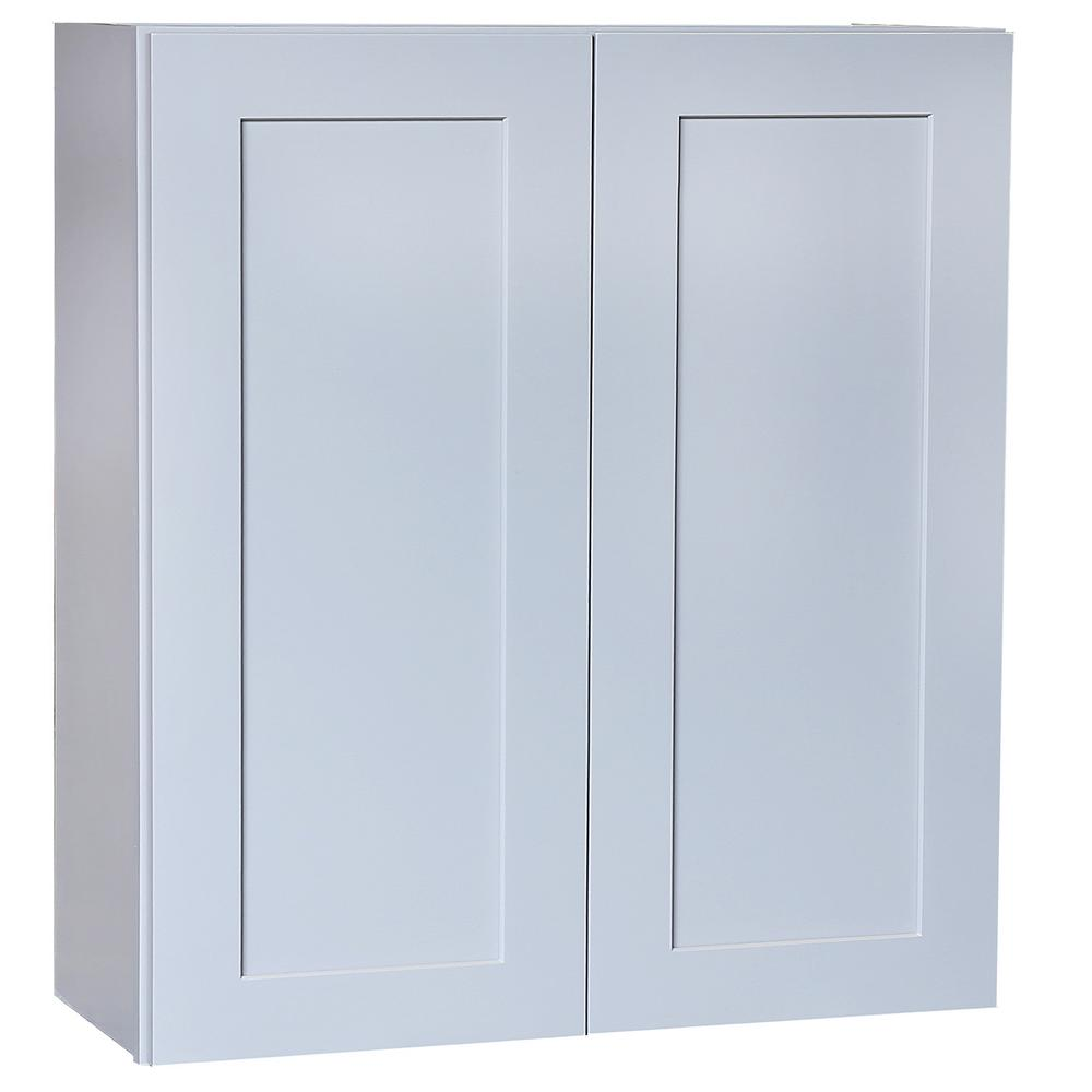 Plywell Ready To Emble 33x42x12 In Shaker Double Door Wall Cabinet 3 Shelves Gray