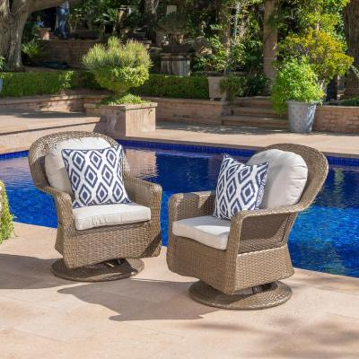 Brown Iron-Framed Wicker Outdoor Lounge Chairs with Ceramic Gray Cushion (2-Pack)