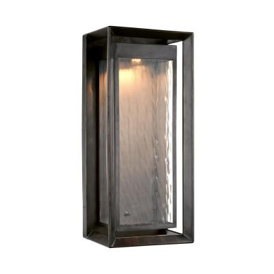 Urbandale 1-Light Antique Bronze Outdoor 23 in. Integrated LED Wall Lantern Sconce