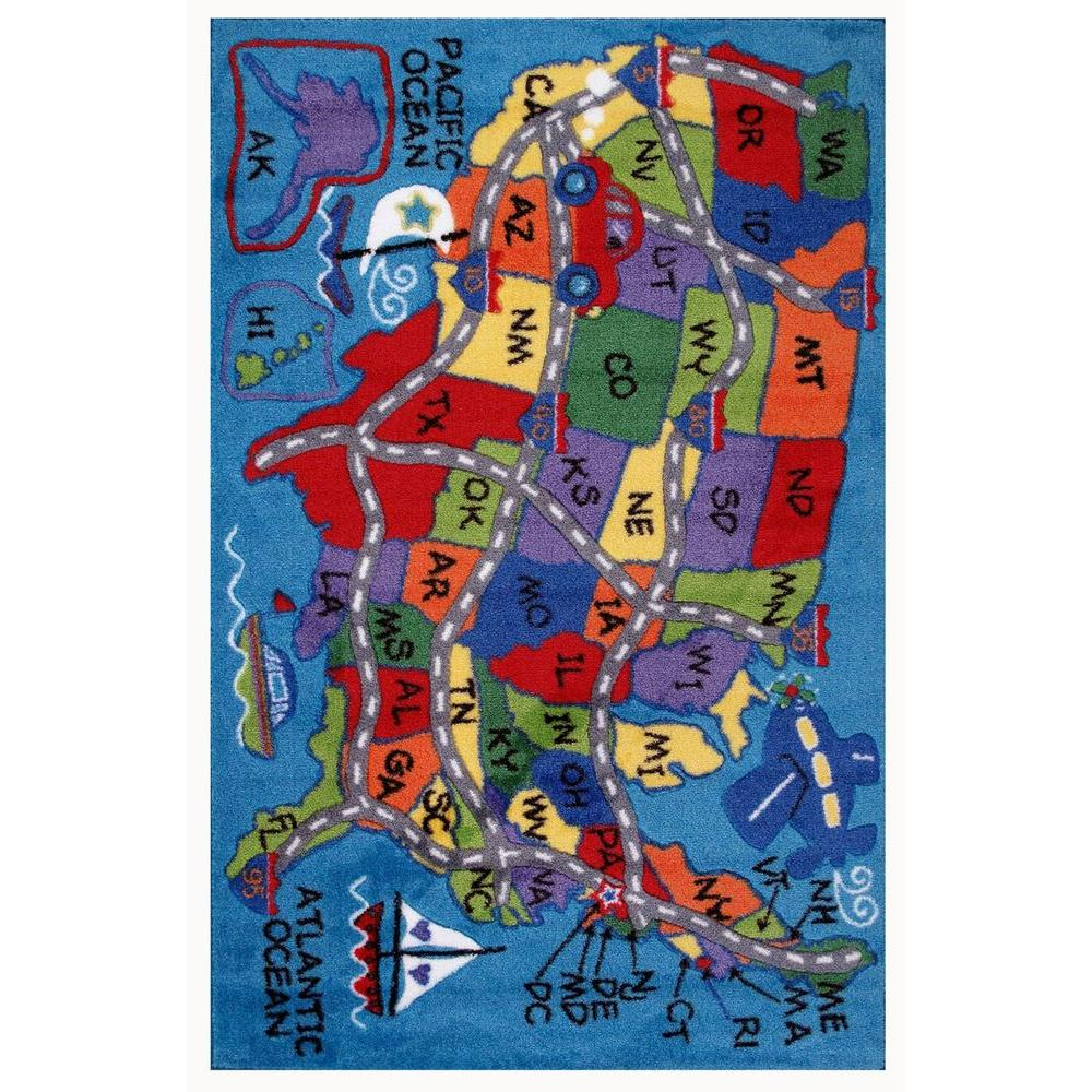 LA Rug Supreme Travel Fun Multi Colored 5 ft. 3 in. x 7 ft. 6 in. Area Rug
