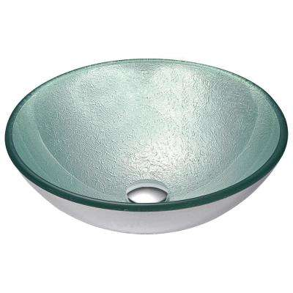 Spirito Series Deco-Glass Vessel Sink in Churning Silver