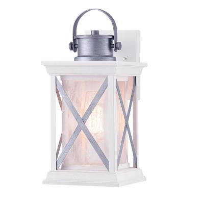 Pendleton 1-Light Satin White 13.1 in. Outdoor Wall Lantern Sconce with Antique Silver Accents