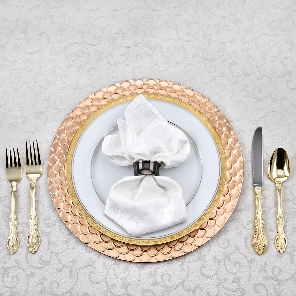 This Placesetting Is To Die Gold Charger Champagne: Old Dutch 13 In. Versailles Charger Plates (Set Of 6