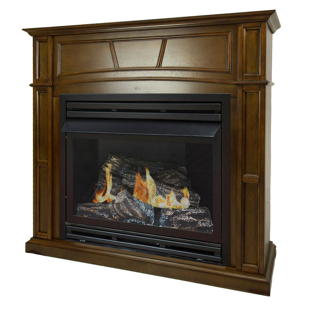 pleasant hearth 46 in full size ventless natural gas fireplace in heritage vff ph32ng h1 the. Black Bedroom Furniture Sets. Home Design Ideas