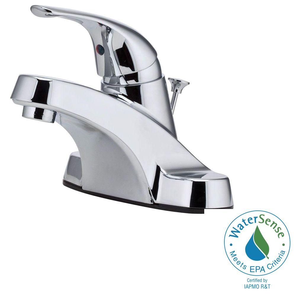 Pfister Pfirst 4 in. Centerset Single-Handle Bathroom Faucet in Polished Chrome
