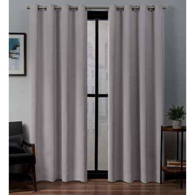 Sateen 52 in. W x 108 in. L Woven Blackout Grommet Top Curtain Panel in Dusty Lavender (2 Panels)