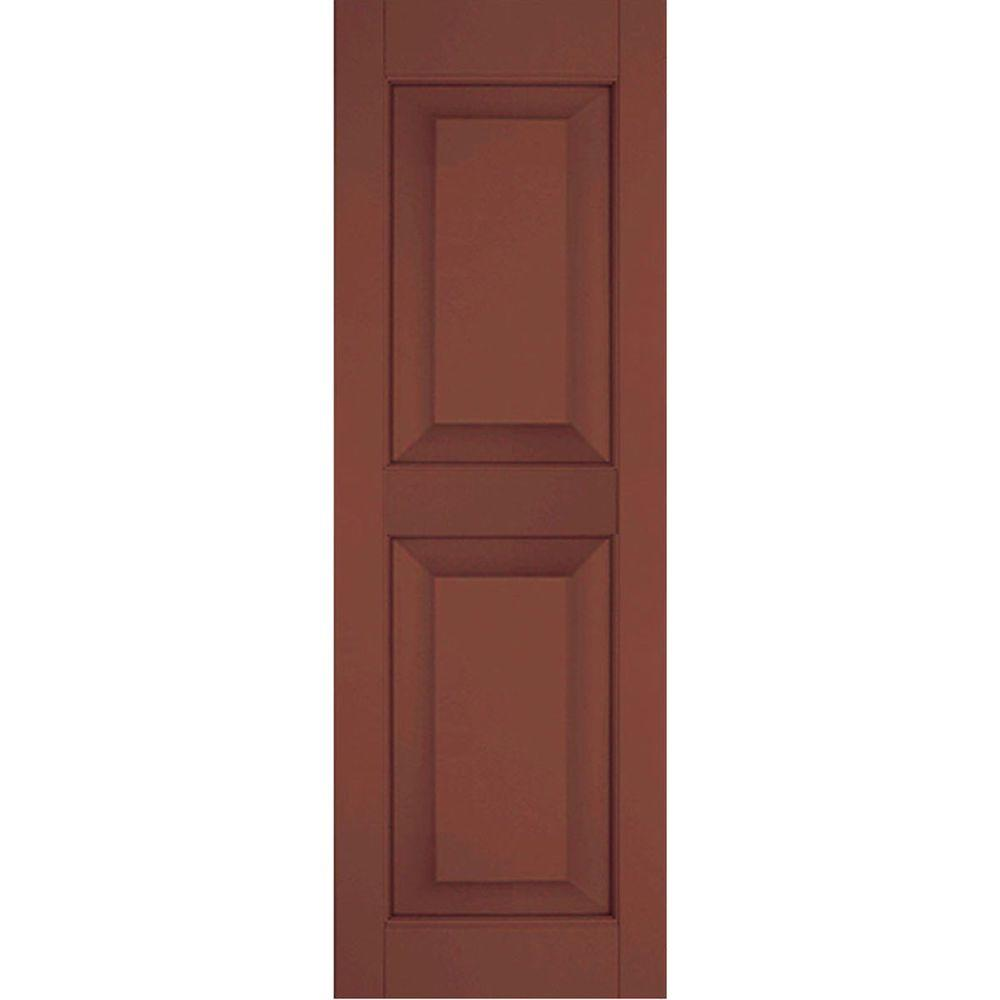Ekena Millwork 15 in. x 67 in. Exterior Real Wood Pine Raised Panel Shutters Pair Country Redwood