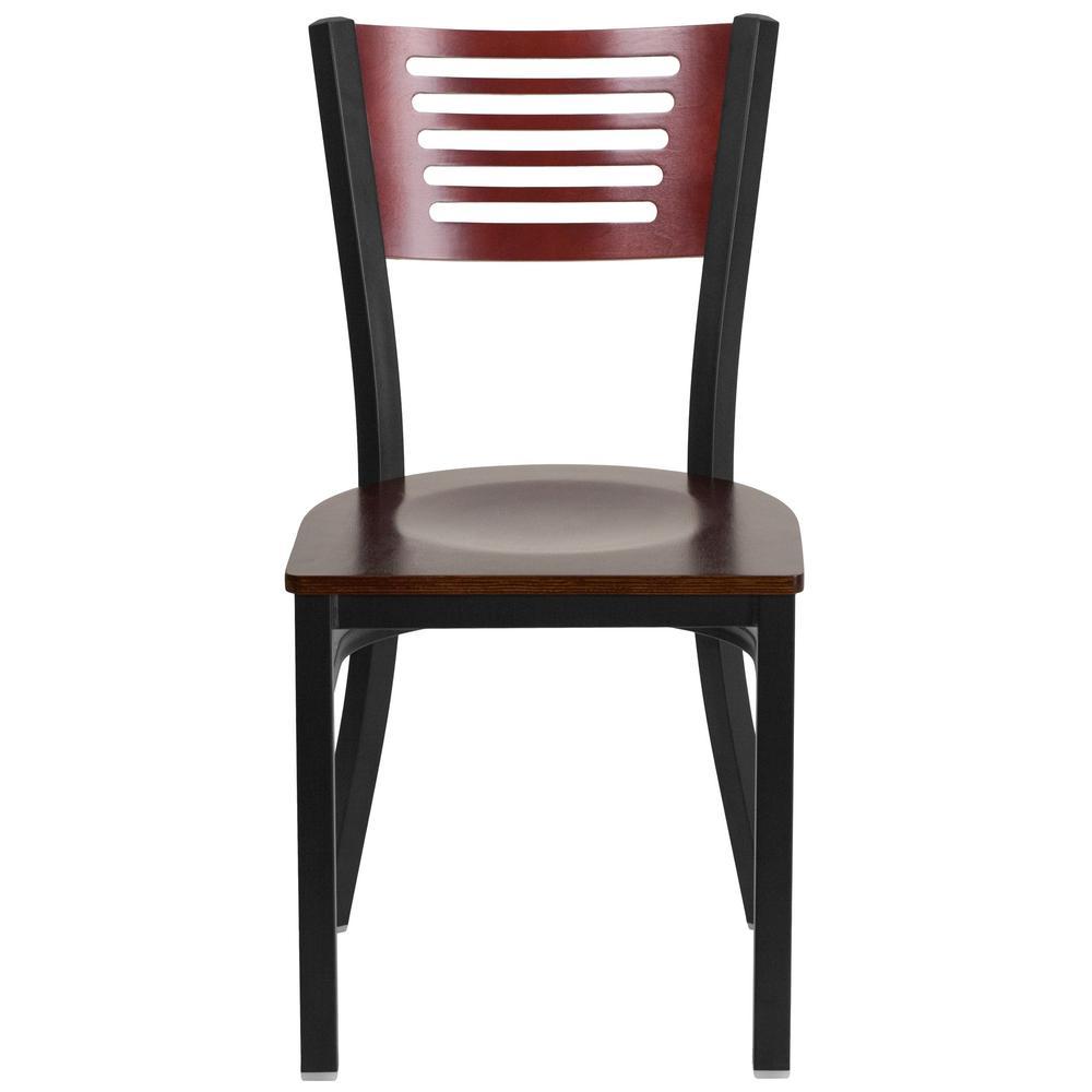Flash Furniture Hercules Series Black Decorative Slat Back Metal Restaurant