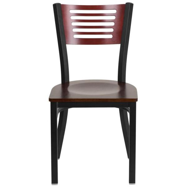 Hercules Series Black Decorative Slat Back Metal Restaurant Chair with Mahogany Wood Back and Seat