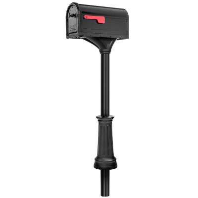 Roxbury Black Steel Post Mount Mailbox and Premium Steel Post Combo