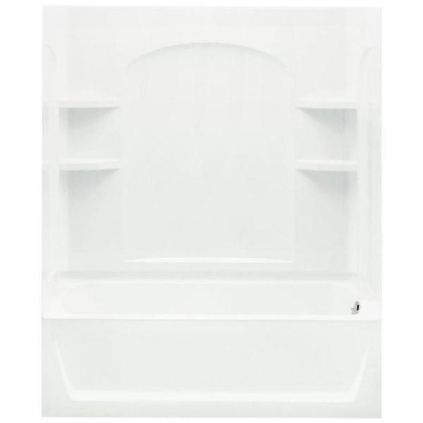 Ensemble 32 in. x 60 in. x 74 in. Bath and Shower Kit with Right-Hand Drain in White