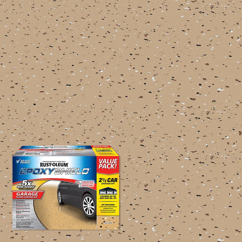 Rust-Oleum EpoxyShield 240 oz. Tan High-Gloss 2.5 Car Garage Floor Kit
