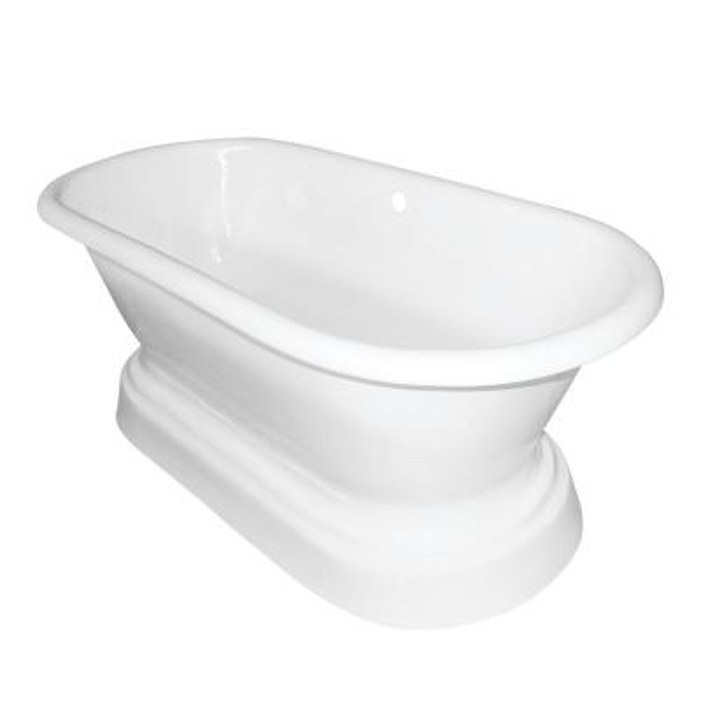 66 in. Cast Iron Double Slipper Pedestal Flatbottom Bathtub in White