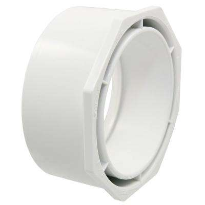 4 in. x 3 in. PVC DWV Spigot x Hub Flush Bushing