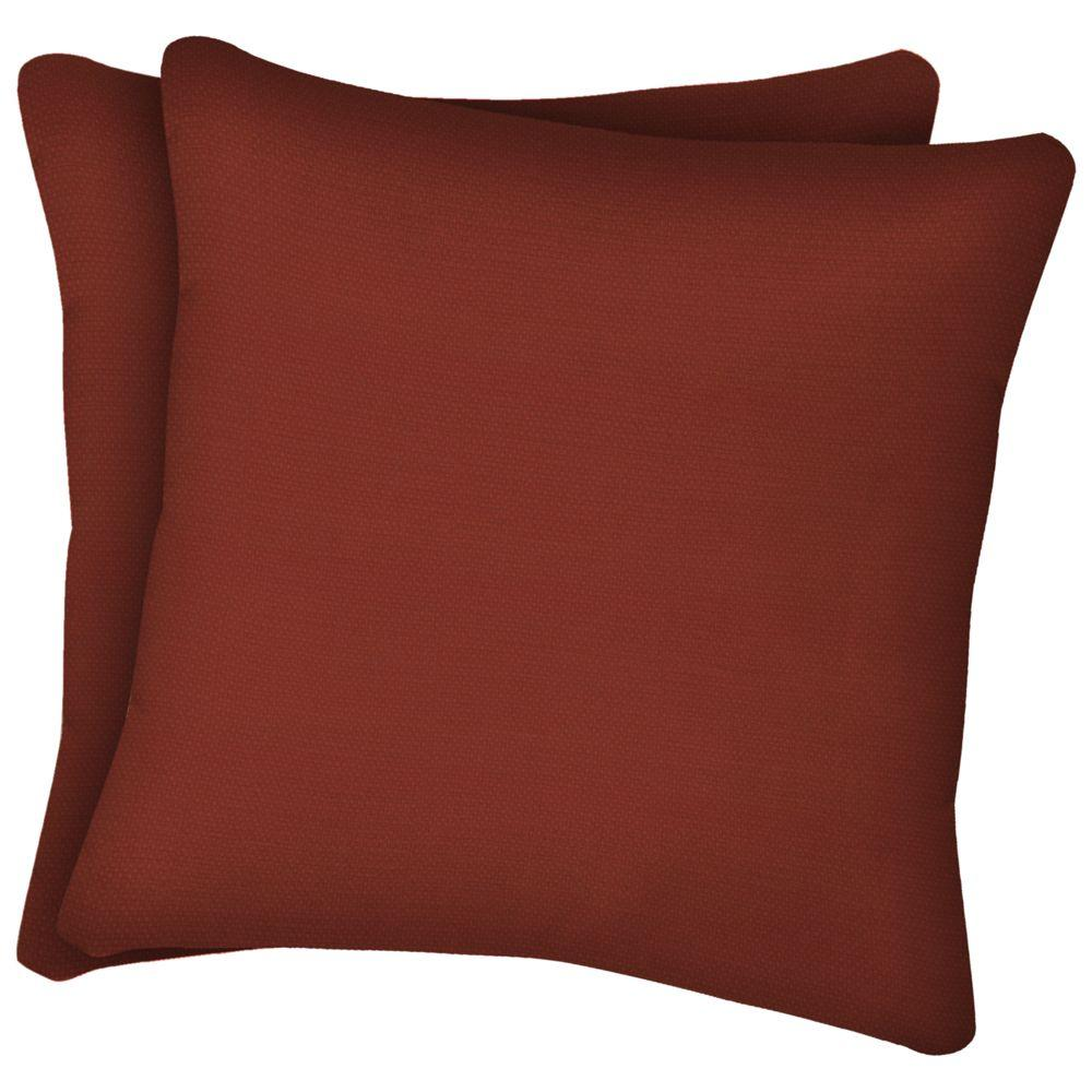 Arden Chili Red Solid Texture Square Outdoor Throw Pillow (2-Pack)-DISCONTINUED