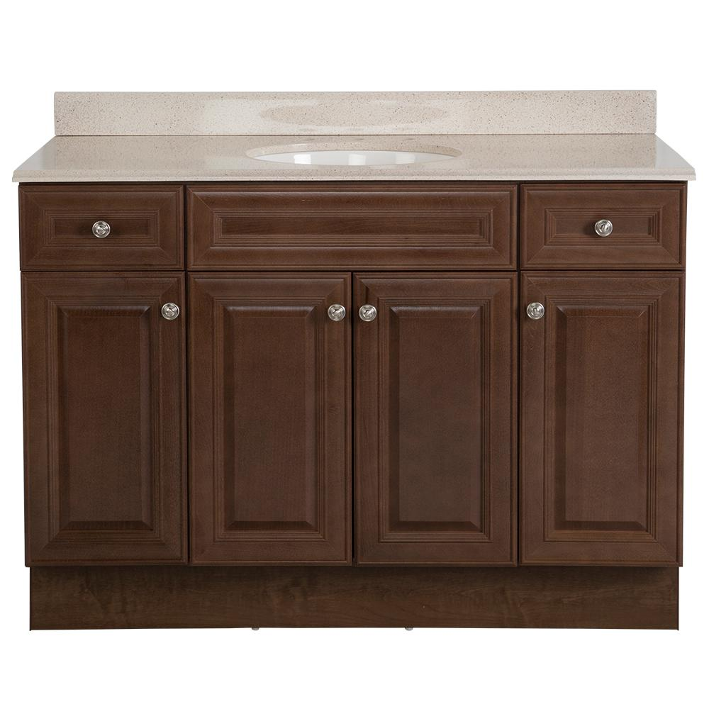 Glacier Bay Glensford 49 in. W x 22 in. D Bathroom Vanity in Butterscotch with Colorpoint Vanity Top in Maui with White Sink