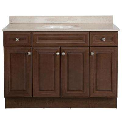 Glensford 49 in. W x 22 in. D Bathroom Vanity in Butterscotch with Colorpoint Vanity Top in Maui with White Sink