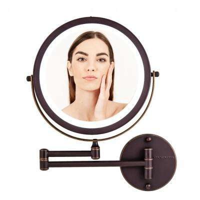 Wall Mount LED Lighted Makeup Mirror, Battery Operated, LED Ring Light, 1X and 7X Magnification (MFW85ABZ1x7x)