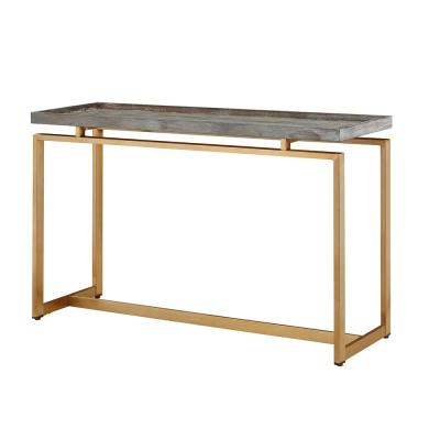 30 in. Rectangle Console Table with Pine Veneer Gray Top and Gold Metal Stand