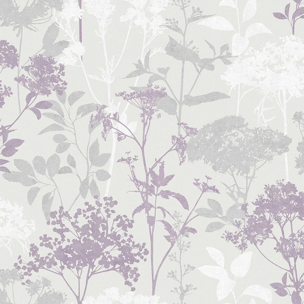 56.4 sq. ft. Brassia Lavender Silhouette Floral Wallpaper