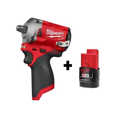 M12 FUEL 12-Volt Lithium-Ion Brushless Cordless Stubby 1/2 in. Impact Wrench with M12 2.0Ah Battery